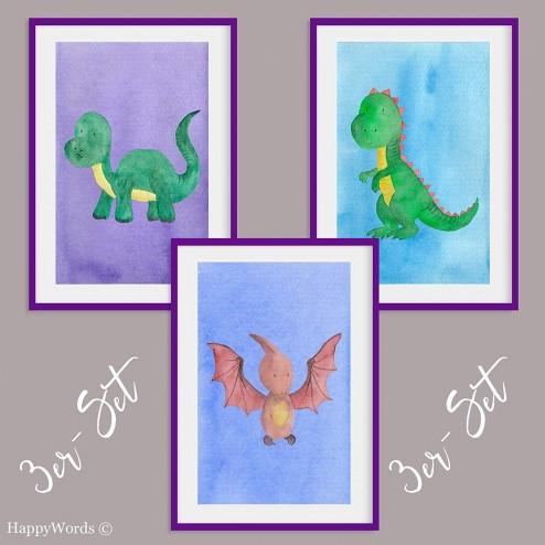 "3er-Set Kinderbilder ""Dinosaurier"""
