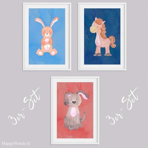 """3er-Set Kinderbilder """"Hase & Hund & Pferd"""""""