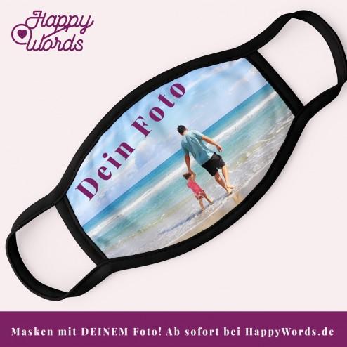 Foto-Mund-Nasen-Maske mit DEINEM Foto bedruckt - Behelfsmaske - Gesichtsmaske - Alltagsmaske  von HappyWords