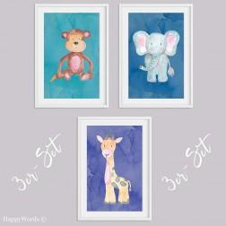 "3er-Set Kinderbilder ""Affe & Giraffe & Elefant"""