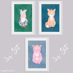 """3er-Set Kinderbilder """"Katze & Schwein & Kuh"""""""