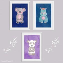 "3er-Set Kinderbilder ""Koala & Nashorn & Panda"""
