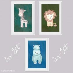 """3er-Set Kinderbilder """"Löwe & Nilpferd & Zebra"""""""