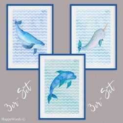 """3er-Set Kinderbilder """"Wal & Delphin & Narwal"""""""