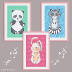 """3er-Set Kinderbilder """"Waschbär & Hase & Pandabär"""""""